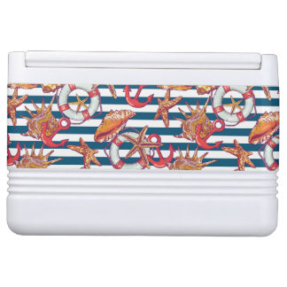 Starfish And Stripes Pattern Igloo Cooler