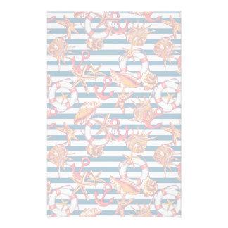 Starfish And Stripes Pattern Stationery