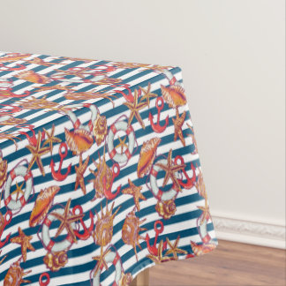 Starfish And Stripes Pattern Tablecloth