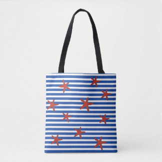 Starfish and Stripes Tote Bag