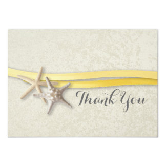 Starfish and Yellow Ribbon Flat Card Thank You 11 Cm X 16 Cm Invitation Card