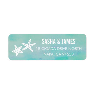 Starfish Aqua Return Address Labels