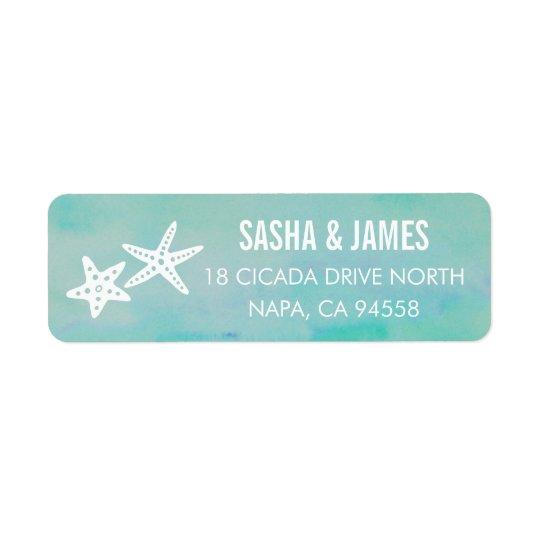 Starfish Aqua Return Address Labels