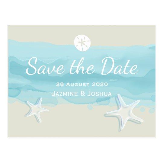 Starfish, aqua watercolor beach /save the date postcard