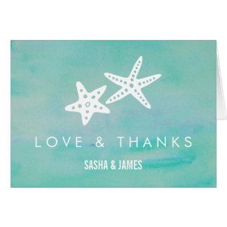 Starfish Aqua Wedding Thank You Cards