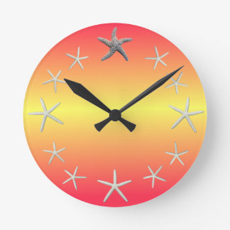Starfish as Numbers Round Wall Clock