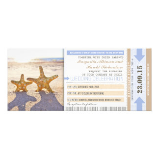 starfish beach boarding pass wedding invitations