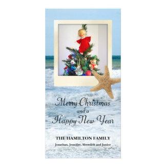 Starfish Beach Christmas 1 Personalized Photo Card