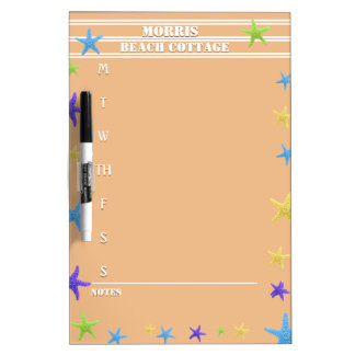 Starfish Beach Coral Activity Schedule with Notes Dry Erase Board