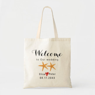 Starfish beach destination wedding script welcome tote bag