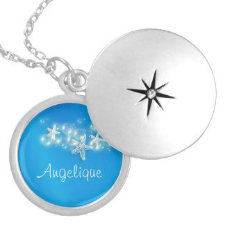 Starfish beach girls name locket necklace