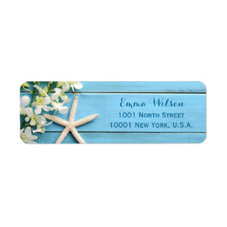 Starfish Beach Return Address Labels With Orchids