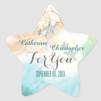 "Starfish beach theme wedding favor ""For you"" Star Sticker"