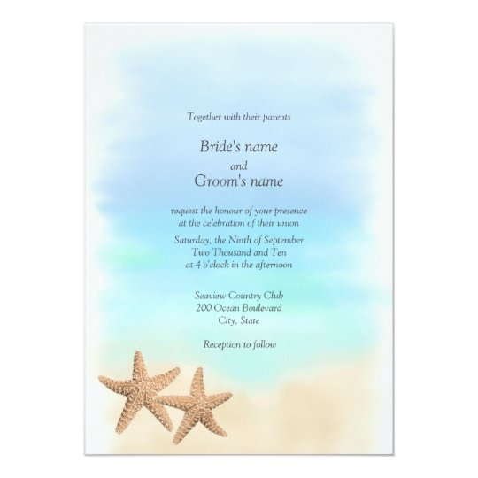 Starfish Beach Theme Wedding Invitations