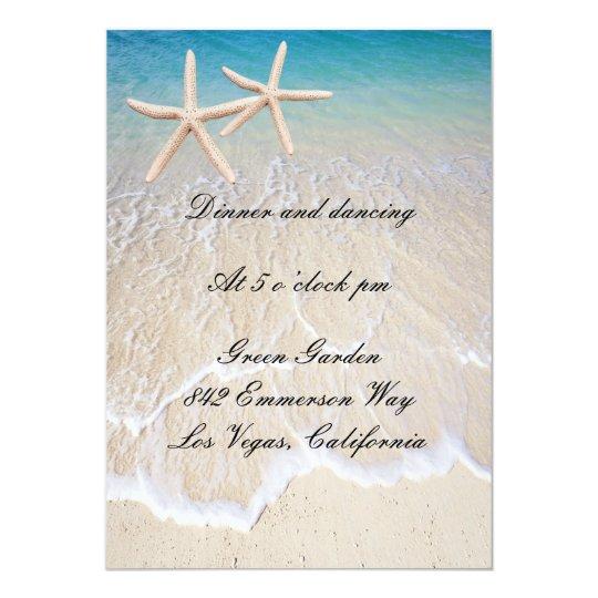 Starfish Beach Wedding Reception Card