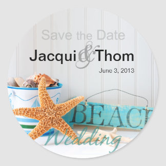 Starfish Beach Wedding Round Sticker
