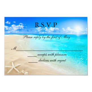 Starfish Beach Wedding RSVP Card Invitation