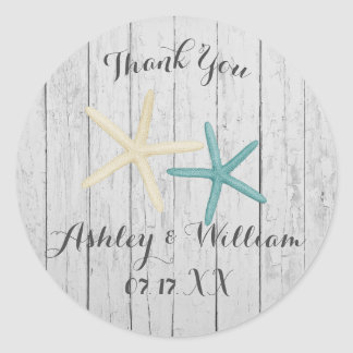 Starfish Beach Wedding Rustic Favor Sticker