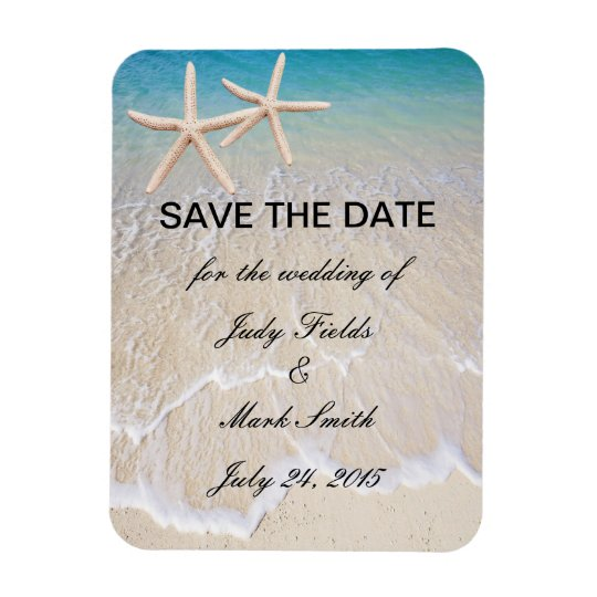 Starfish Beach Wedding Save The Date Magnet