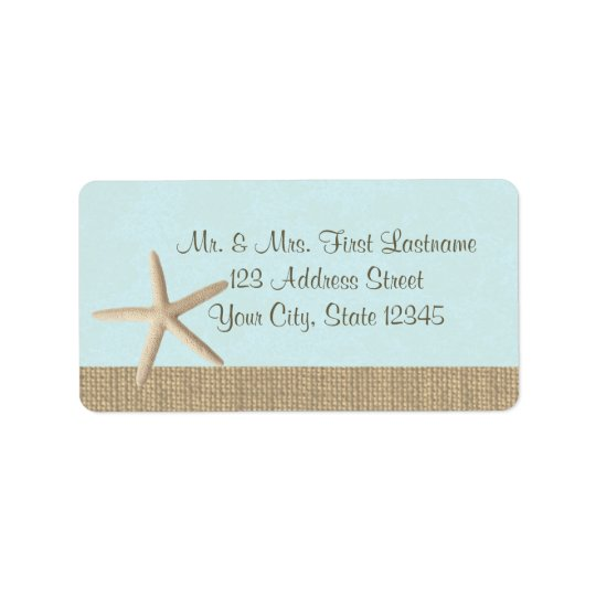 Starfish Blue Address Label