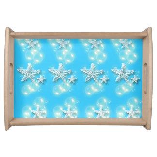 Starfish blue beach pattern service trays