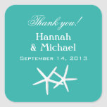 Starfish Blue Personalised Favour Labels Square Stickers