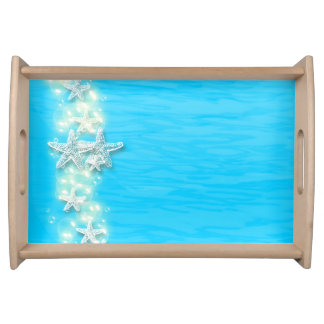 Starfish blue white beach serving trays