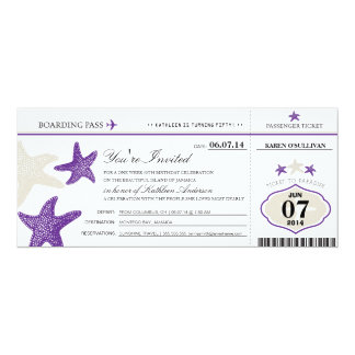 Starfish Boarding Pass Birthday Card