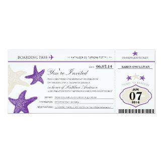 "Starfish Boarding Pass Birthday 4"" X 9.25"" Invitation Card"