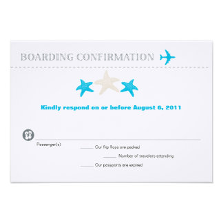 Starfish Boarding Pass RSVP Card Personalized Invitation