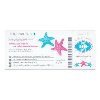 Starfish Boarding Pass | Wedding 10 Cm X 24 Cm Invitation Card