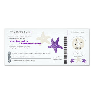 Starfish Boarding Pass Wedding Card