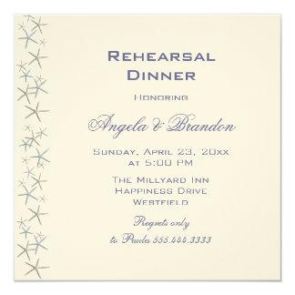 """Starfish Border Square Rehearsal Dinner Invitation 5.25"""" Square Invitation Card"""