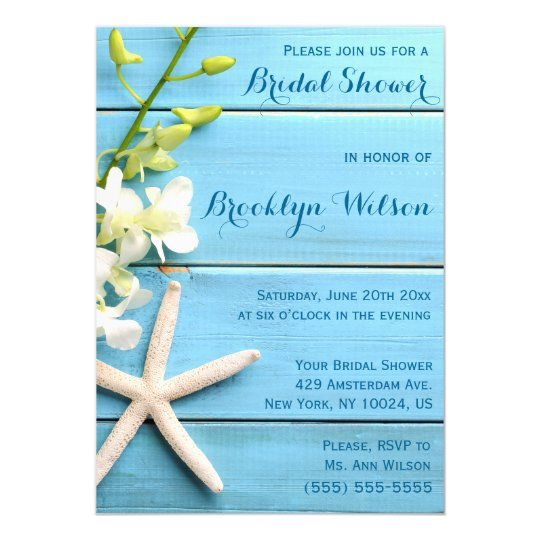 Starfish Bridal Shower Invitations With Orchids