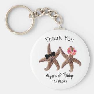 Starfish Bride and Groom Wedding Favor Key Ring
