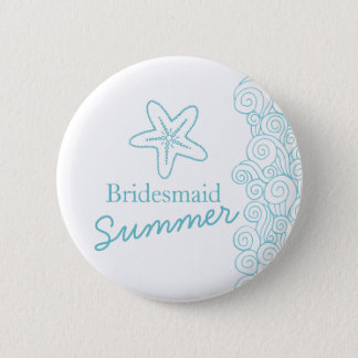Starfish bridesmaid aqua wedding pin / button