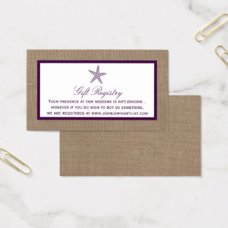 Starfish Burlap Beach Wedding   Choose Your Color Business Card