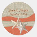 Starfish & Burlap Coral Beach Round Stickers
