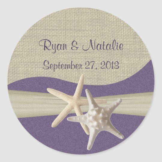 Starfish & Burlap Purple Beach Classic Round Sticker