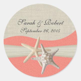 Starfish & Burlap Shell Coral Round Sticker