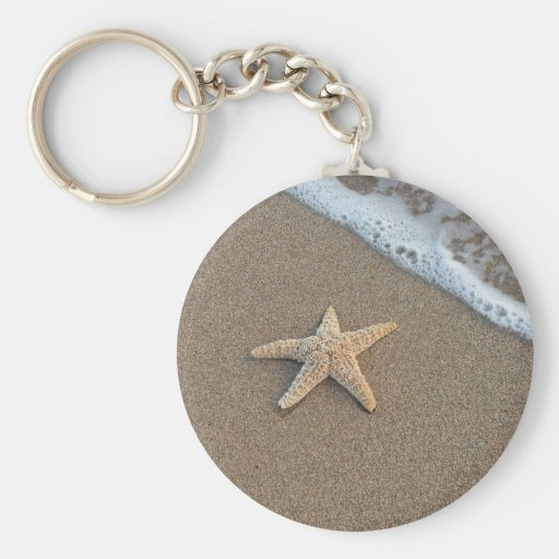 Starfish by the beach basic round button key ring