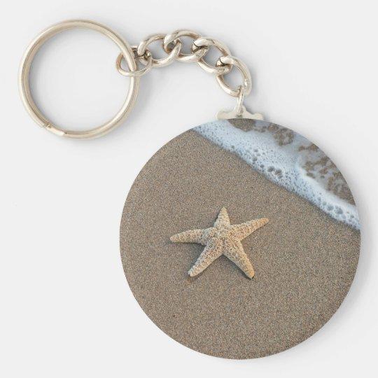 Starfish by the beach key ring