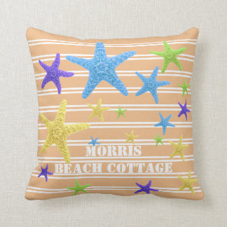 Starfish Coral Pinstripes Personalised Throw Pillow