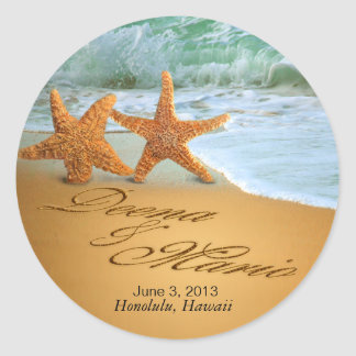 Starfish Couple ASK ME TO PUT NAMES IN THE SAND Classic Round Sticker