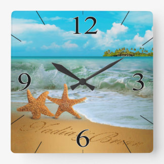 Starfish Couple ASK ME TO PUT NAMES IN THE SAND Wallclock