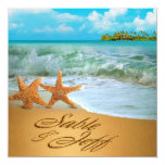 Starfish Couple ASK TO HAVE YOUR NAMES PUT IN SAND 13 Cm X 13 Cm Square Invitation Card