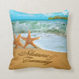 Starfish Couple ASK TO HAVE YOUR NAMES PUT IN SAND Cushions