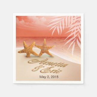 Starfish Couple ASK TO HAVE YOUR NAMES PUT IN SAND Disposable Napkins