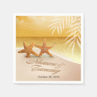 Starfish Couple ASK TO HAVE YOUR NAMES PUT IN SAND Disposable Serviette