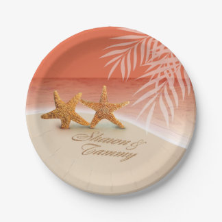 Starfish Couple ASK TO HAVE YOUR NAMES PUT IN SAND Paper Plate